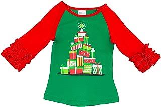Boutique Clothing Girls Fall Winter Holidays Thanksgiving Christmas Ruffles Raglan Tshirt Fashion Top