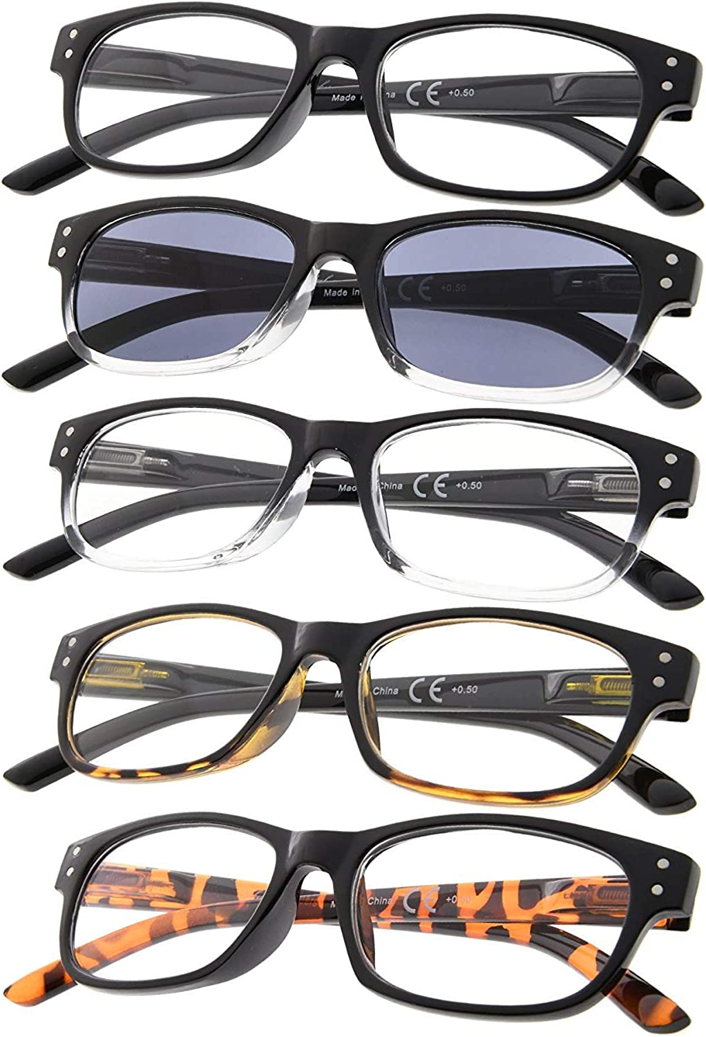Mail order cheap 5-pack Vintage Reading Glasses with Hinges trust Spring Sungl Includes