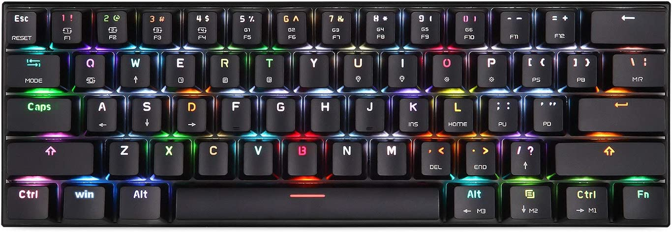 Motospeed Wired/Wireless 3.0 Mechanical Keyboard 60% Compact 61 Keys RGB Backlit Type-C Gaming/Office Keyboard for PC/Mac/Linux/iPad/iPhone/Smartphone/Laptop Red Switch
