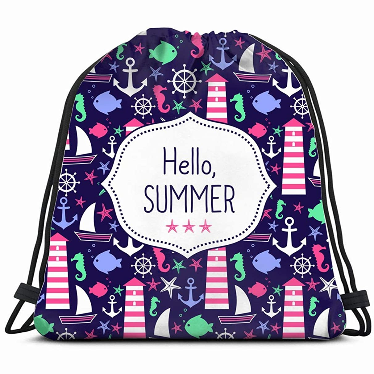 cute card hello summer navy nature Drawstring Backpack Gym Sack Lightweight Bag Water Resistant Gym Backpack for Women&Men for Sports,Travelling,Hiking,Camping,Shopping Yoga