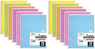 Mead Spiral Notebook, 12 Pack of 1-Subject College Ruled Spiral Bound Notebooks, Pastel Color Cute school Notebooks, 70 Pages