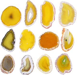 mookaitedecor Polished Agate Slices Geode Top Drilled Pendant Slice for Jewelry Making Pack of 12
