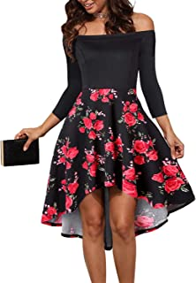 713e994a7f2 LEORAY Women Off The Shoulder Pockets Vintage Patchwork High Low Skater Party  Cocktail Dress