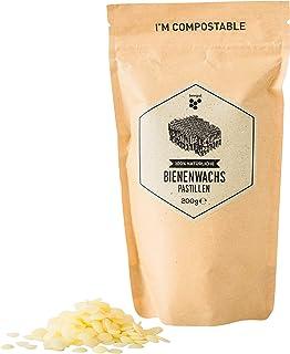beegut Bienenwachs Pastillen, 200g natürliches reines Bienenwachs, nachhaltige Verpackung, geeignet für Naturkosmetik, Bienenwachstücher, Kerzenherstellung und Leder-/Holzpflege