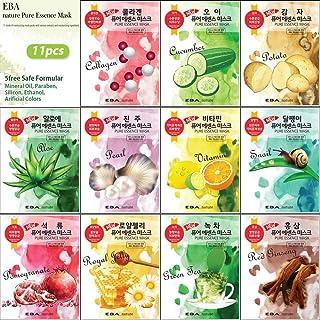 {EBA NATURE} 11 Pcs Combo-Pack, Premium Korean Pure Essence Facial Mask Sheet (11 Types x 1 pcs), Five Chemical Free : No ...