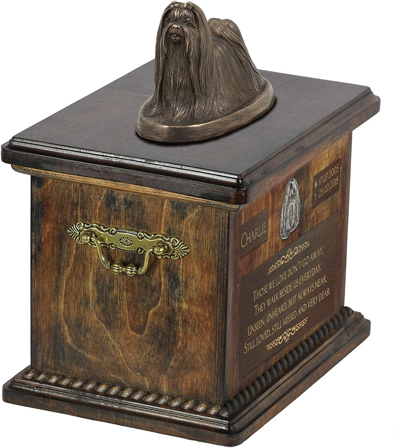 Shih Tzu, Urn for Dog Ashes Memorial with Statue, Pet's Name and Quote  ArtDog Personalized