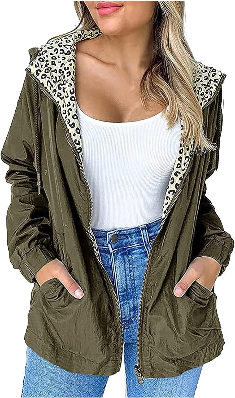 Womens Casual Jackets Outdoor Plus Size Waterproof Zip Up Hooded Windproof Coat Zip Up Lightweight Anorak Coat