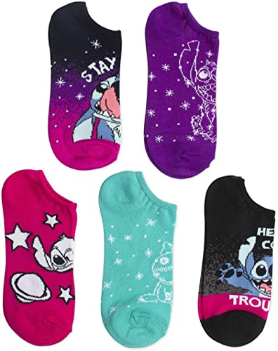 Disney Lilo & Stitch Women's 5 Pack No Show Socks