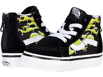Vans Kids Sk8-Hi Zip (Infant/Toddler) ((Slime Flame) Black/True White) Boys Shoes