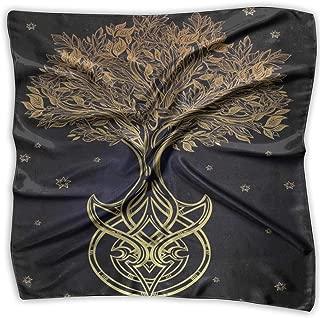 Bandana Head and Neck Tie Neckerchief,Romantic Plant Night With Stars In Sky Baroque Mystic Tribal Symbol,Headband
