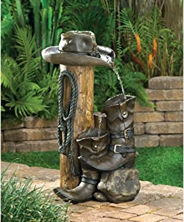 wakatobi Wild Western Rustic Cowboy Hat Boot Water Fountain Outdoor Garden Decor