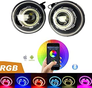 2 Pack-DOT Approved Lantsun RGB Bluetooth Control 7 Inch 40W Round Projectors LED Headlights 7 Colors with Angel Halos for Jeep Wrangler JK 07-17(2 Yr Warranty) RGB238