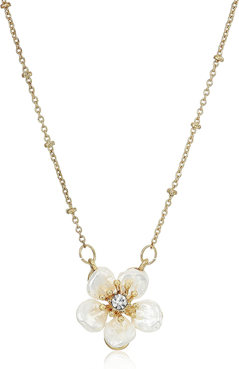 Lonna & Lilly Women's Necklace 16 Inch Flower Pendant - Worn Gold Tone/White/Crystal, One Size