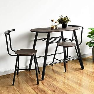HOMYCASA Table à Manger avec 2 Chaises, 2 Personnes Table de Salle à Manger avec étagère de Rangement, Table à Manger de C...