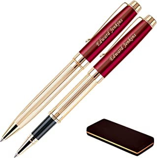 Personalized Braxton Ballpoint and Rollerball Pen Set - Red. Real 18krt Gold Plated Gift Set for a Man or Women, Custom Engraving is Included. Comes in a Pen Case