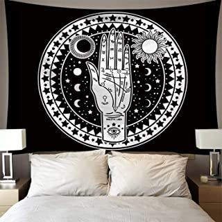 Altar Tarot Tapestry Wall Hanging, Gothic Wall Tapestry, Tapestry Psychedelic Tapestry Black and White Mystic Tapestry Wall Hanging, for Bedroom Living Room Home Decors (59in*51in one hand)