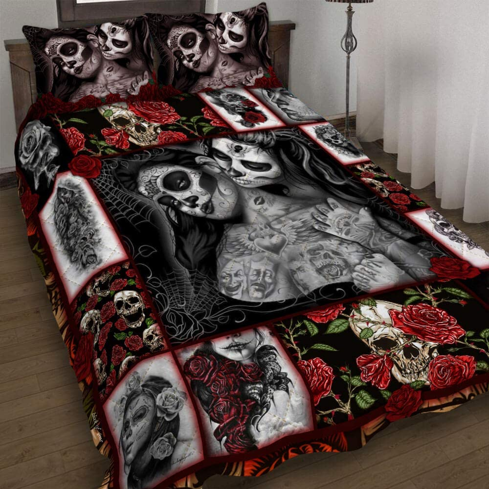 GEEMBI Quilt Phoenix Mall Bedding Special price Set-Girl Skull Tattoo Bed PN519QS Set