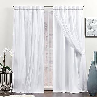 Exclusive Home Curtains Brilliance Room Darkening Blackout Hidden Tab Top Curtain Panels, 52x84, White