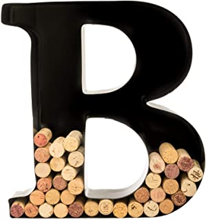 Wine Cork Holder - Metal Monogram Letter (B), Black, Large | Wine Lover Gifts, Housewarming, Engagement & Bridal Shower Gi...
