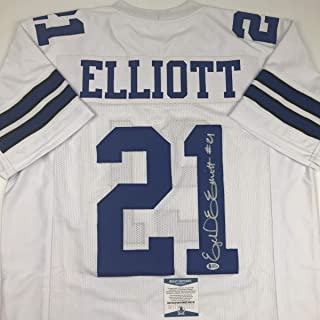 Autographed/Signed Ezekiel Elliott Dallas White Football Jersey Beckett BAS COA