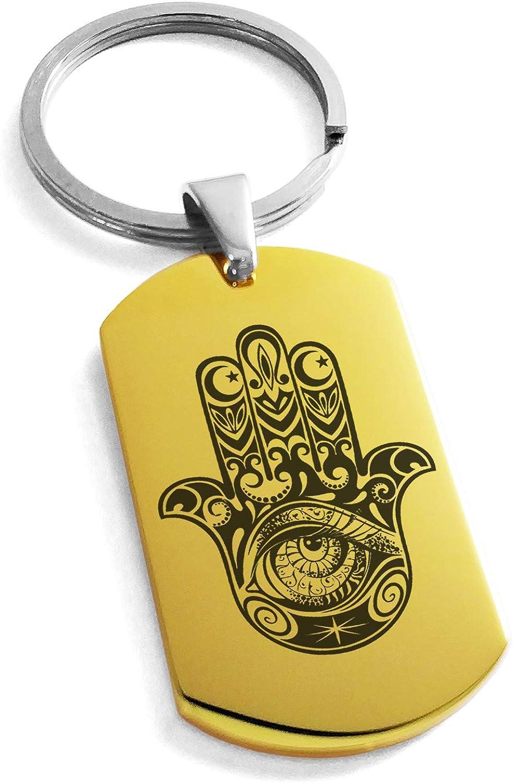 Tioneer Stainless Steel Crescent Hamsa Hand of Fatima Symbol Dog Tag Keychain Keyring