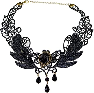 Black Rose Flower Lace Gothic Lolita Beads Pendant Choker Necklace 12.87in