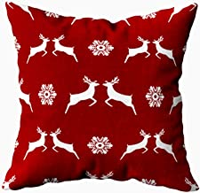 ROOLAYS Home Cute Pillows Throw Square Pillow Case Cover 20X20Inch,Cotton Cushion Covers Pattern Christmas Reindeer Snowflakes Red bac Both Sides Printing Invisible Zipper Home Decor Pillowcase
