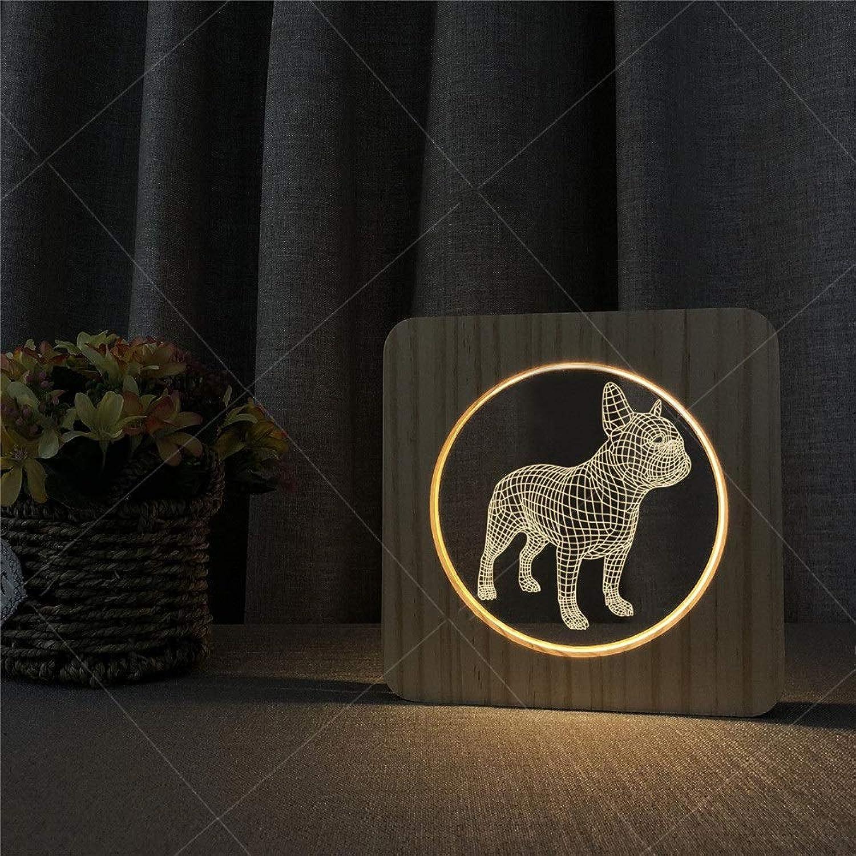 Optische Tuschung 3D-Lichtfarbe LED-Nachtlicht USB Powerot 3D Holz Acryl Illusion Franzsisch Bulldog Muster LED Nacht Schreibtischlampe Geschenk Für Kinder Kinder Erwachsene Schlafzimmer Wohnzimmer