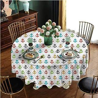 FYLART Round Polyester Tablecloth Wash Free, Wrinkle Free Retro Marine Cartoon, Round 70 Inch, Great for Wedding, Restaura...