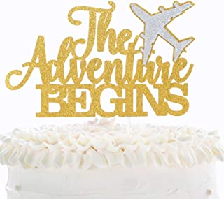 The Adventure Begins Cake Topper - Glitter Airplane Congrats Grad Retirement Travel Birthday Party Décor - Kids Nursery First Day of School Party Decoration