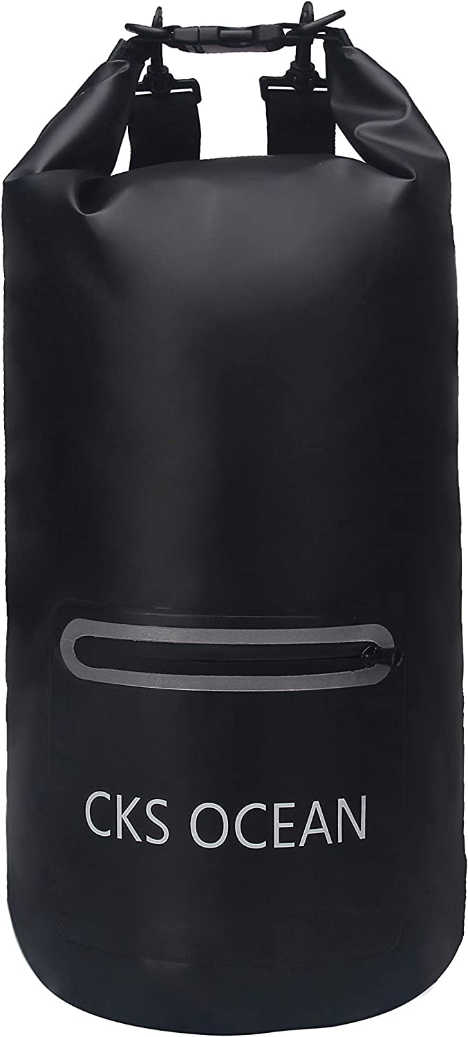 CKS OCEAN Premium Outdoor Waterproof Dry Bag 20L,30L with Exterior Zip Pocket Shoulder Strap and Reflective Trim for Kayaking, Boating, Rafting, Boating, Beach, Fishing, Camping, Hiking