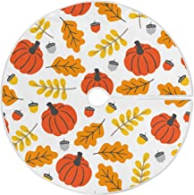 Dussdil Fall Pumpkins Maple Leaves Christmas Tree Skirt 35.4 Inches Autumn Yellow Leaf Xmas Tree Skirts Floor Door Mat Rug...