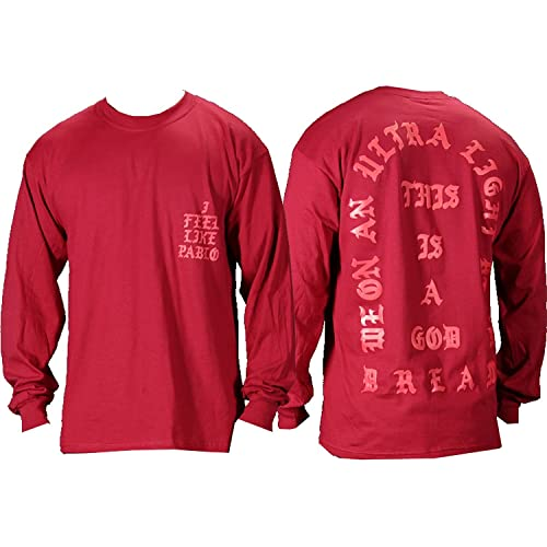 b95b1ce3c9ec The Life of Pablo I Feel Like Pablo Red Long Sleeve T Shirt (Medium)