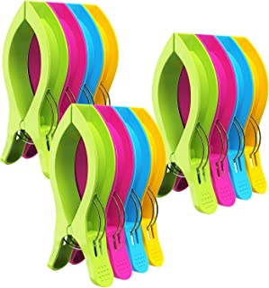 Attmu 12 Pack Beach Towel Clips Chair Clips Towel Holder in Fun Bright Colors - Stop The Towels from Blowing Away D-12 Pack