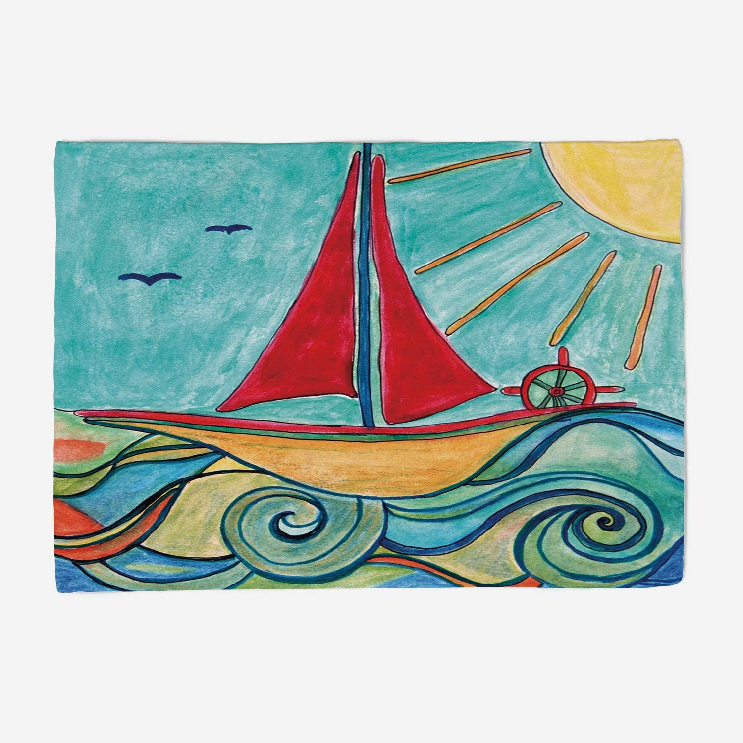 YOLIYANA Blanket Bedspread Soft Fleece Throw Blanket 59x49 inches Art,Baby Boy Paintings Ship in The Waves of Ocean Sun Kids Girls Nursery Picture Decorative,Teal Red Earth Yellow