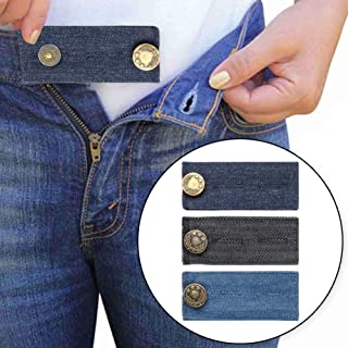 Comfy Fit Denim Waist Extenders for Men and Women, Extender Buttons for Jeans Trousers Pregnancy with Metal Button, Add 1/2 to 2 Inch Extra Space, Set of 3 in Various Color