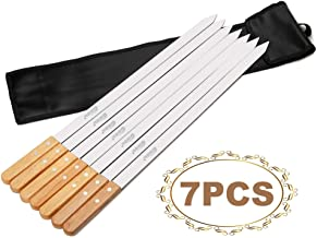 Goutime 23 Inch 1 Inch Wide Stainless Steel BBQ Skewers for Koubideh/Persian/Brazilian Kabob Set of 6