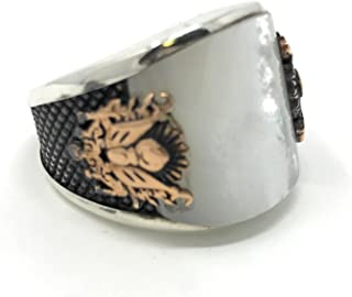 925K Stamped Sterling Silver Pearl Coat of Arms Ottoman Men's Ring K6E