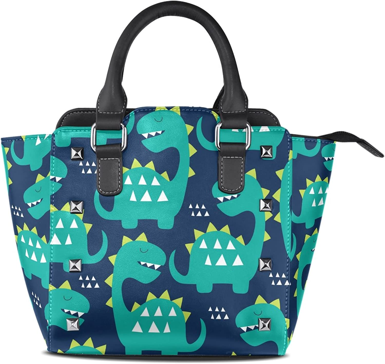 My Little Nest Women's Top Handle Satchel Handbag Dinosaur Pattern Ladies PU Leather Shoulder Bag Crossbody Bag