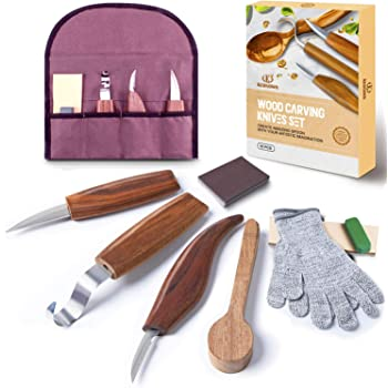 Wood Carving Tools Kit-K KERNOWO Wood Carving Knife Set with Hook Carving, Chip Wood, Whittling Knife Carved Spoon, Kuksa Cup, and Bowl, 11 Pcs Spoon Carving Tools Kit for Beginners Woodworking