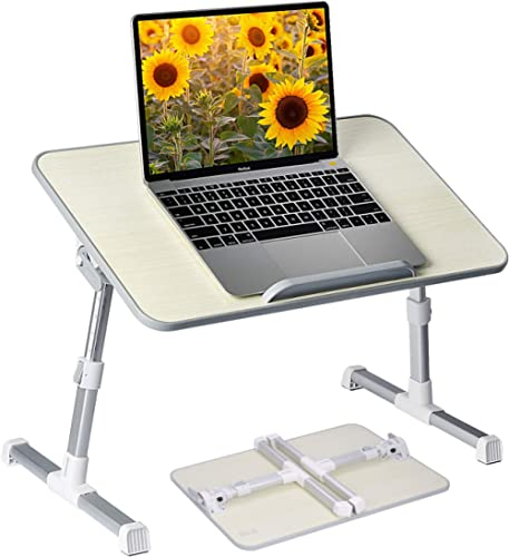 Neetto Height Adjustable Laptop Bed Table, Portable Lap Desk with Foldable Legs, Breakfast Tray for Eating, Notebook ...