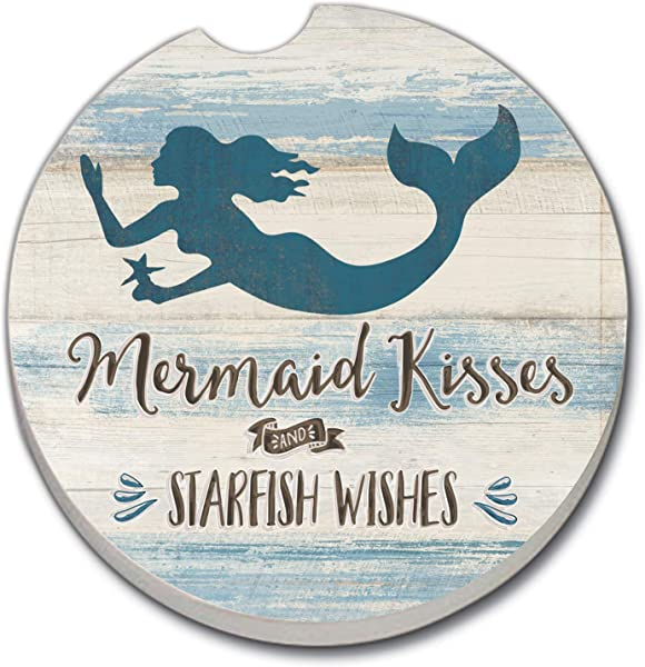 CounterArt Absorbent Stoneware Coaster Mermaid Kisses Starfish Wishes