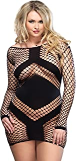 Women's Plus Size Sexy Diamond Fish Fishnet Mini Dress with Panel Accents, Black