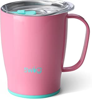 Swig Life Stainless Steel Signature 18oz Travel Mug with Spill Resistant Slider Lid in Peony