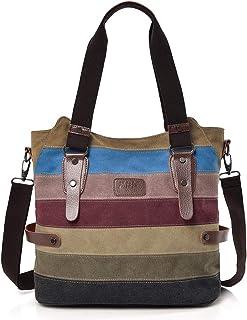NEWLIUXI Damen Handtasche, Canvas Tasche Multi-Color Streifen Umhängetasche, Tote Große Kapazität Shopping Casual Crossbod...