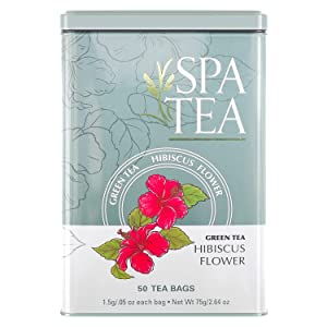 Spa Tea Hibiscus Flower Herbal All Natural Green Tea Specialty Flavor Premium 50 Sachet Bags In A Reusable Tin Can Bleach Free With No Staples Strings Or Tags Antioxidant Caffeinated Bulk (50-Pack)