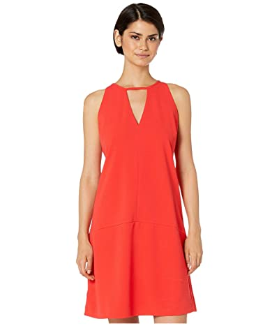 Sam Edelman Crepe V-Neck Shift Dress (Coral) Women