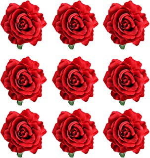 inSowni 9 Pack Big Rose Flower Hair Clips Brooch Pins Accessories for Women Girl Bridal (9PCS S2)