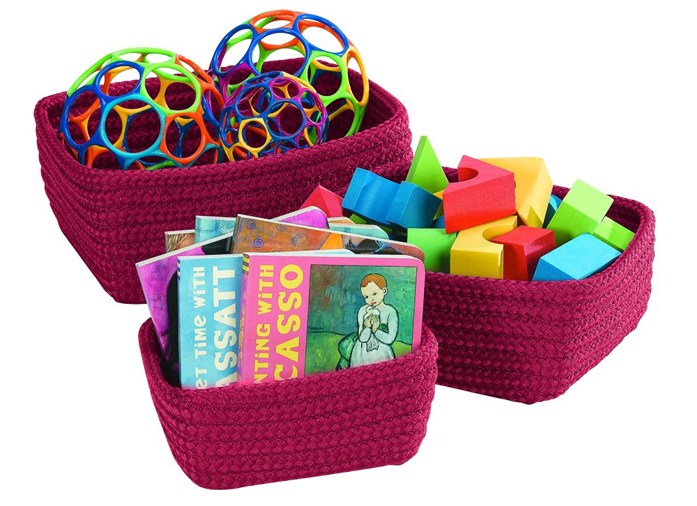 Sale price Becker's School Quantity limited Supplies Nesting Baskets 3 Red Berry Set of