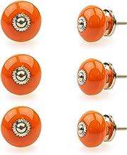 Gałka meblowa uchwyt meblowy zestaw 6 szt. 118GN pomarańczowy - Jay Knopf ceramika porcelana ręcznie malowane gałki meblow...